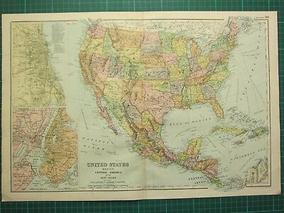 1893 Antique Map United States Mexico Central America West Indies New York Plan