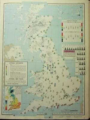 VINTAGE LARGE MAP of BRITAIN ANNUAL SUNSHINE DISPERSION DRY DAYS SOLAR RADIATION
