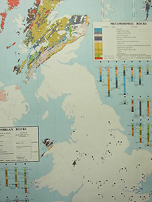 VINTAGE LARGE MAP of BRITAIN GEOLOGY PRE-CAMBRIAN & METAMORPHIC ROCKS SCOTLAND