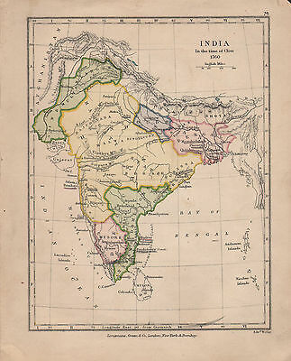 1899 VICTORIAN DOUBLE SIDED MAP ~ INDIA TIME OF CLIVE 1760 ~ INDIA to 1858