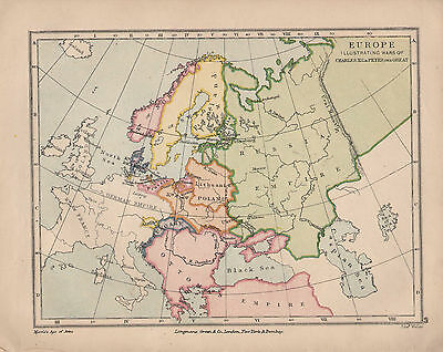 1899 Victorian Historical Map ~ Europe Illustrating Wars Of Charles Xii Peter