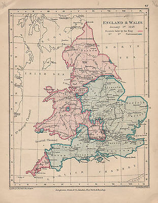 1899 Victorian Doubled Sided Map Englans & Wales 1643 Parliament & King ~ Naseby