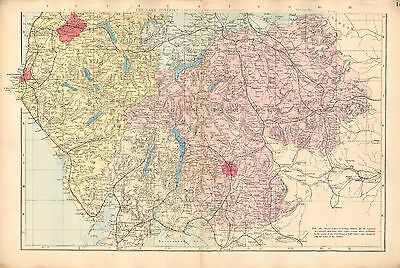 1881 Hand Coloured Map ~ Lake District Cumberland & Westmorland South Sheet