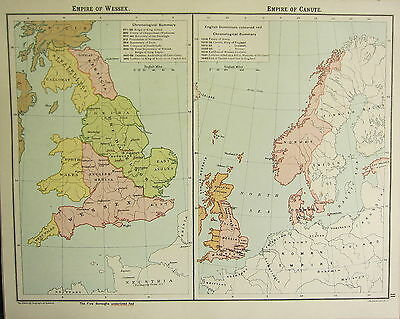 1905 Map ~ Empire Of Wessex English Mercia & Canute English Dominions