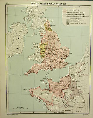 1905 Map ~ Historical Britain After Norman Possessions William King Of France