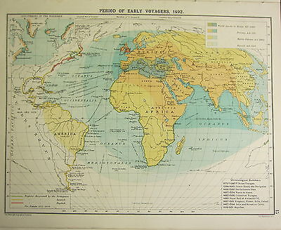 1905 Map ~ Period Of Early Voyagers 1492 Norsemen Discoveries Regions Discovered