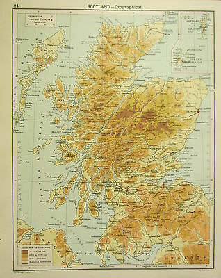 1905 Map ~ Scotland Orographical Universities Principal Colleges Land Heights