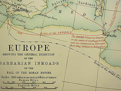 1892 Large Historical Map Europe Direction Barbarian Inroads Fall Roman Empire