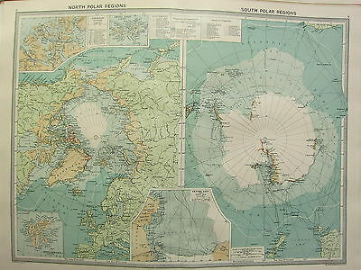 1920 Large Map ~ North & South Polar Regions Arctic Antartica Progress Explorers