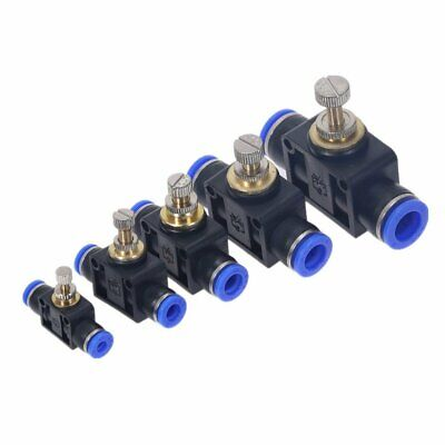 Air Flow Speed Control Valve Tube Hose Pneumatic Push In Fittings 4-12mm