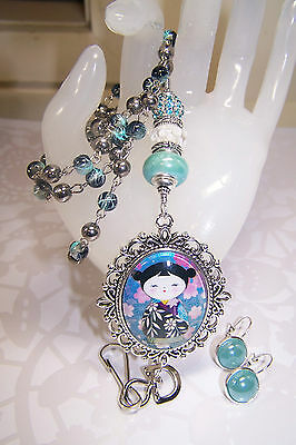 Aqua & White Murano With Japanese Washi Doll Cabochon Beaded Lanyard / ID Badge