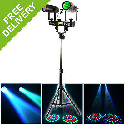 Beamz 2-Some LED RGBW 2-Way Light DJ Disco Party Lighting Effects Stand