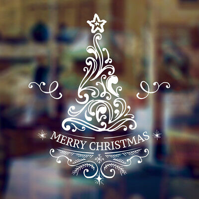 Merry Christmas Tree Window Art Wall Sticker Decal Xmas Decoration Shop House