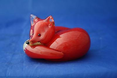 Langham Glass Hand-Made Small Crystal Fox At Rest - New / Boxed
