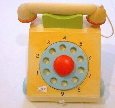 Wooden Pull-a-long Multi-Coloured Telephone with Dial and Reciever