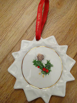 ROYAL TARA Bone China CHRISTMAS ORNAMENT Pinecone HOLLY & Berry