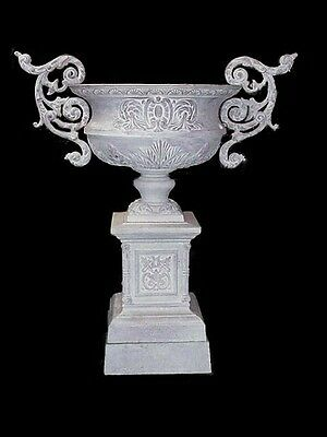 "Monumental Antique Cast Iron ""king"" Garden Urn Kramer Bros Foundry Ohio"
