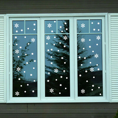 80 Pcs Mix Size Christmas Snowflakes Stars Snow Decorations Decal Stickers Xmas