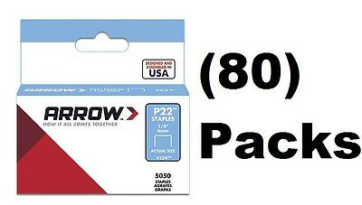 "(80) ea Arrow # 224  (5050) pack 1/4"" 6mm Staples for P22 Plier Staple Gun"