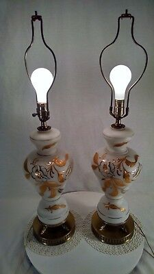 Pair of Vtg Hand-Blown Table Lamps Hand Painted In Gold-  (READ DETAILS PLEASE)