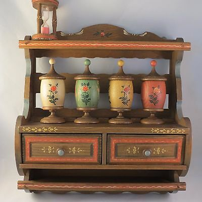 VINTAGE ANRI ITALY SPICE RACK CABINET w HOUR GLASS TIMER 4 APOTHECARY JARS RARE