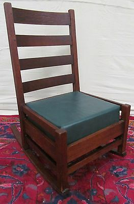 Arts & Crafts Mission Oak Antique Chair Nursing Rocker Signed Stickley