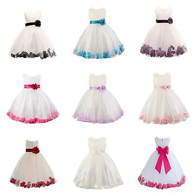 Girls 1 Rose Dress Flower Princess Sleeveless Formal Party Wedding Bridesmaid