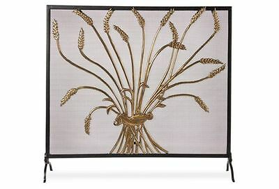 Vintage Fireplace Screen Brass & Iron With Harvest Wheat Stalk Pattern Motif