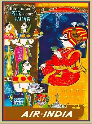 Air India India Asia Asian Vintage Airline Travel Poster Art Advertisement