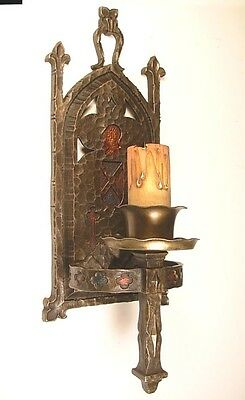 Vintage Gothic Light Sconce In Cast Bronze - 1 Available
