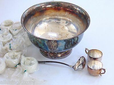 Superb Deco Modern Sheffield Silver Co. Usa  Silver Punch Bowl & Cups Set