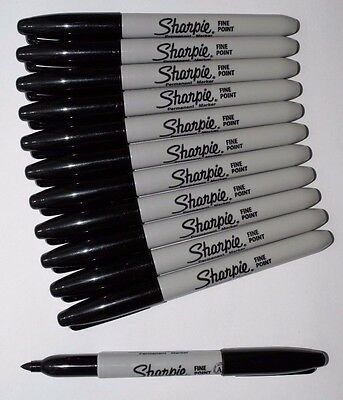 Sharpie Black Permanent FINE Bullet Tip Marker Pens Pack 1, 2, 5, 10, 12 or 24