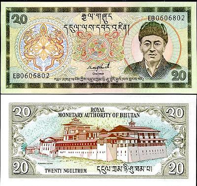 Bhutan 20 Ngultrum 1992 P.16 Unc Sign 1