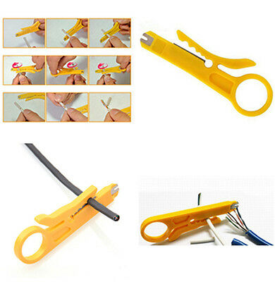 2*Plastic Yellow Strip Data Cable Wire Punch Down Cutter Stripper Home Equipment