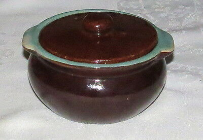 "Green & Brown Pottery 4.3/4"" Soup Bowl with Lid"