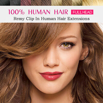 Full Head Clip in Remy Hair Extensions 100% Real Human Hair 8pcs