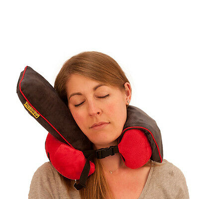 Foam Neck Rest Support Pillow - Red Cushion Home Car Plane Travel - memory foam