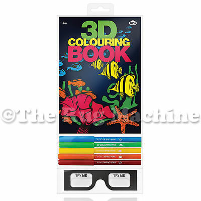 3D COLOURING BOOK - Give Colour A New Dimension Thru 3D Glasses! **NEW**
