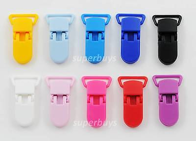 10pc Plastic Suspender Bib Pacifier Dummy Teething Clips Buckles Ribbon KAM MC