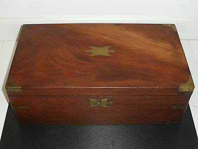 LARGE 1860's ANTIQUE MARITIME BRASS INLAID WOOD SHIPS CAPTAIN's LAP DESK
