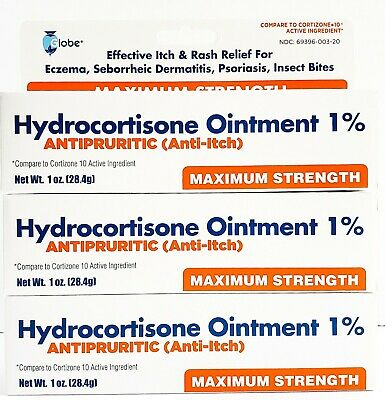Hydrocortisone Ointment 1% Maximum Strength Anti-Itch 1oz Tube -Pack of 3-