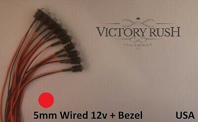 10pcs 5mm Red Round Clear Pre Wired LEDs Light 12v + Bezel Holders USA