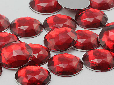 20mm Red Ruby H103 Flat Back Round Acrylic Jewels - 20 Pieces