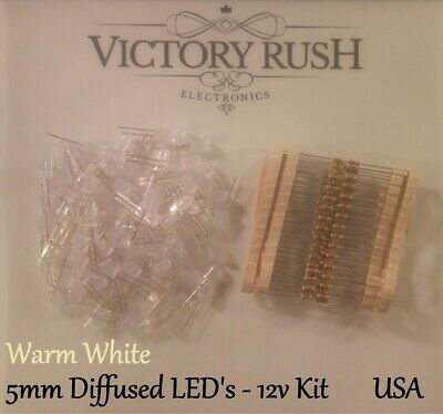 100pcs Warm White 5mm Round Top Diffused LED's Light + Resistors 12v KIT USA