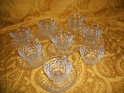 Lot of 15 Block Optic Clear Depression Glass Cups & Saucers By Anchor Hocking