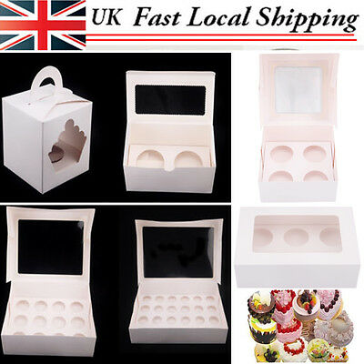 White Cupcake Boxes with Window Holds Cup cakes in each box Baking Kitchen DIY