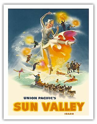 TR31 Vintage Sun Valley Ice Skating Chicago Railways Travel Poster A4