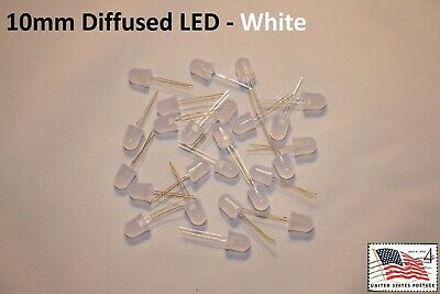 25x White 10mm Round Top Diffused LED High Quality Light Lamp USA