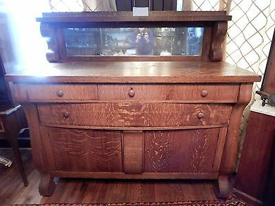 "Antique Heavy Oak Sideboard With Mirror 24""d by 60""w by 56.5""h Buffet"