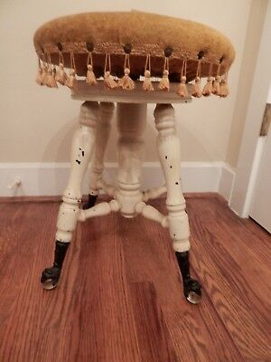 """Swiveling Antique Piano Stool Metal Claw Feet Glass Balls 20""""h x 14.75""""d"""